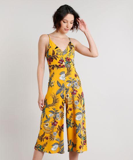 Macacao-Feminino-Pantacourt-Estampado-Floral-Alca-Fina-Mostarda-9572248-Mostarda_1