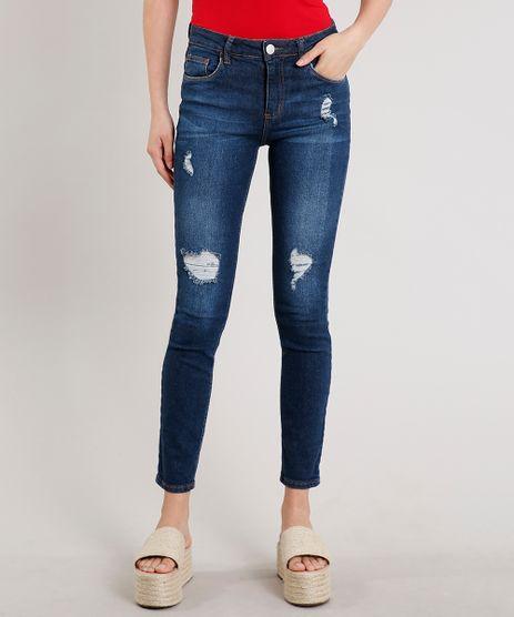 Calca-Jeans-Feminina-Skinny-com-Rasgos-Azul-Escuro-9570305-Azul_Escuro_1