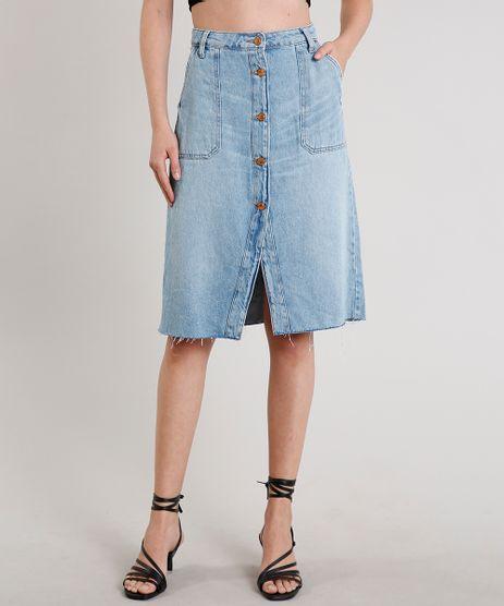 Saia-Jeans-Feminina-Midi-com-Botoes-e-Bolsos-Azul-Claro-9678765-Azul_Claro_1