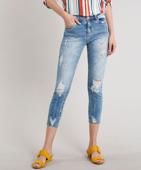 Calca-Jeans-Feminina-Cropped-Destroyed-Azul-Medio-9669106-Azul_Medio_1