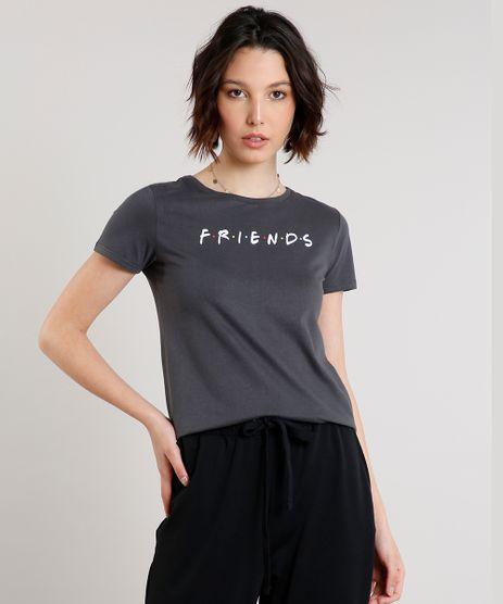 Blusa-Feminina-Friends-Manga-Curta-Decote-Redondo-Chumbo-9640399-Chumbo_1