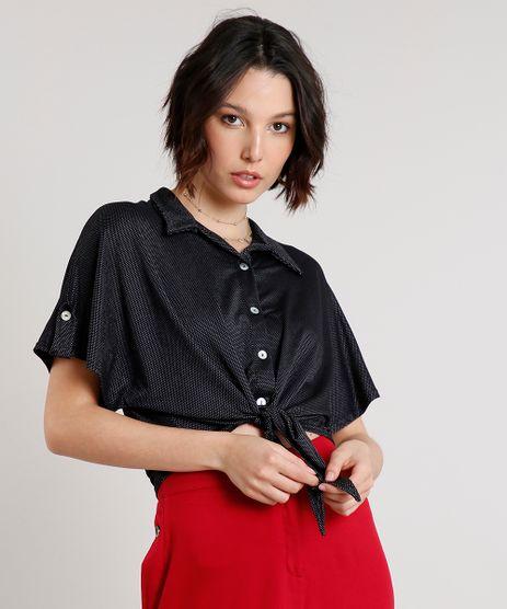 Camisa-Feminina-Cropped-Estampada-de-Poa-com-No-Manga-Curta-Preta-9636891-Preto_1