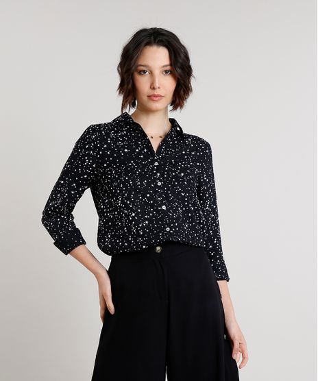 Camisa-Feminina-Estampada-de-Estrelas-Manga-Longa-Preta-9520789-Preto_1