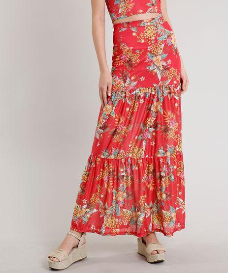 Saia-Feminina-Longa-Estampada-Floral-com-Recorte-Vermelha-9609118-Vermelho_1