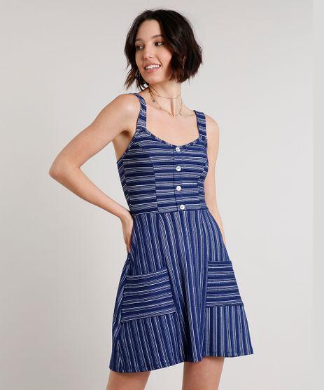 Vestido-Feminino-Curto-Listrado-com-Botoes-e-Bolsos-Alca-Larga-Azul-Marinho-9631103-Azul_Marinho_1