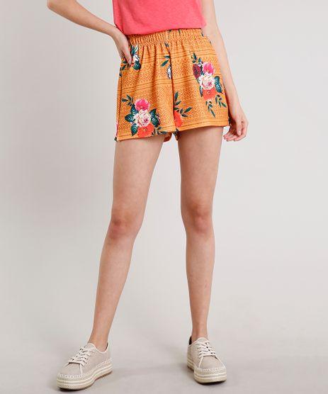 Short-Feminino-Estampado-Floral-Geometrico-Mostarda-9609123-Mostarda_1