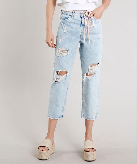 Calca-Jeans-Feminina-Mom-Cropped-Destroyed-com-Cadarco-Neon-Azul-Claro-9662952-Azul_Claro_1