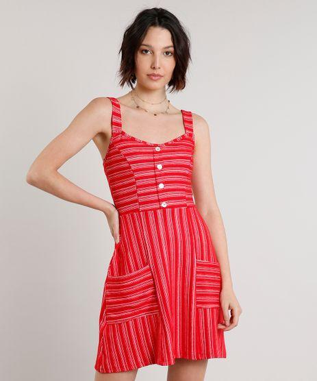 Vestido-Feminino-Curto-Listrado-com-Botoes-e-Bolsos-Alca-Larga-Vermelho-9631103-Vermelho_1