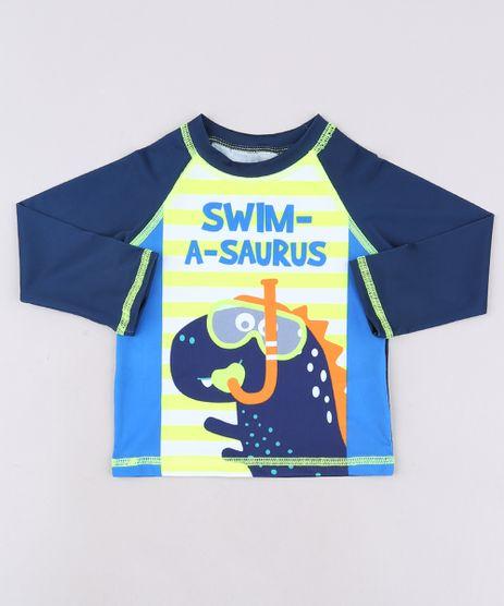 Camiseta-de-Praia-Infantil-Dinossauro-Manga-Longa--Azul-Marinho-9519058-Azul_Marinho_1