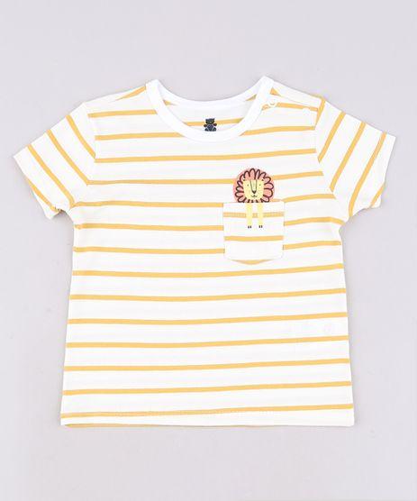 Camiseta-Infantil-Listrada-com-Leao-e-Bolso-Manga-Curta-Off-White-9671097-Off_White_1