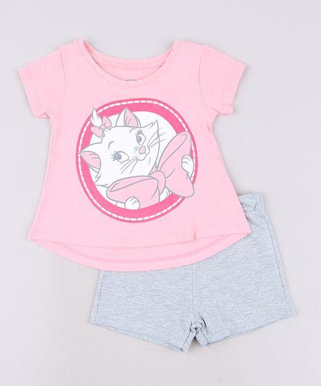 Conjunto-Infantil-Marie-de-Blusa-Manga-Curta-Rosa---Short-em-Moletom-Cinza-Mescla-9640798-Cinza_Mescla_1