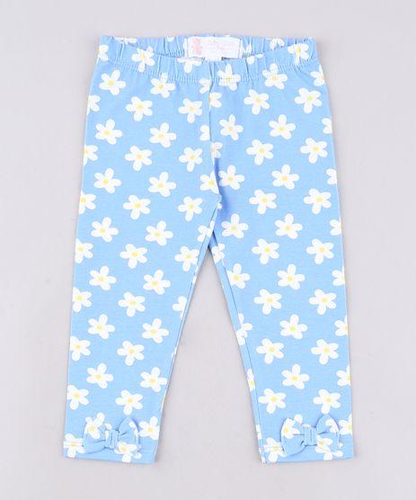 Calca-Legging-Infantil-Basica-Estampada-Floral-com-Laco-Azul-9651874-Azul_1