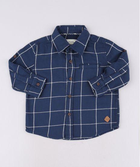 Camisa-Infantil-Estampada-Quadriculada-com-Bolso-Manga-Longa-Azul-Marinho-9543943-Azul_Marinho_1