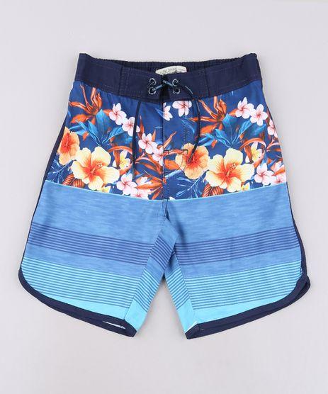 Bermuda-Surf-Infantil-Estampada-Floral-com-Listras-Azul-9559456-Azul_1