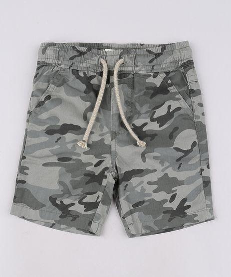 Bermuda-de-Sarja-Infantil-Estampada-Camuflada-com-Cordao-e-Bolsos--Verde-Militar-9642421-Verde_Militar_1