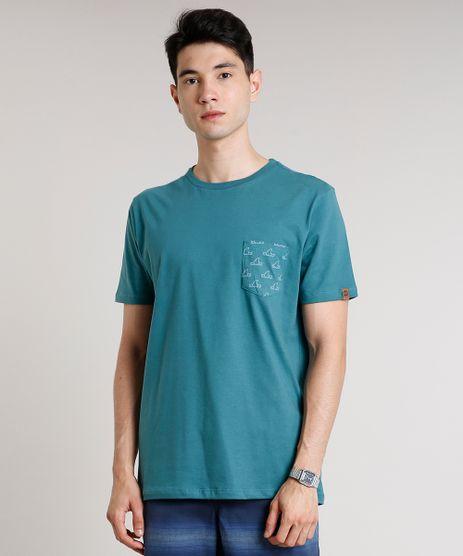 Camiseta-Masculina-com-Bolso-Estampado-de-Tubarao-Manga-Curta-Gola-Careca-Verde-9636213-Verde_1