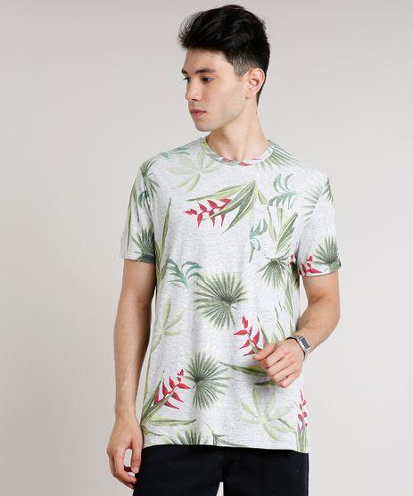 Camiseta-Masculina-Estampada-de-Folhagem-com-Bolso-Manga-Curta-Gola-Careca-Cinza-Mescla-Claro-9648954-Cinza_Mescla_Claro_1