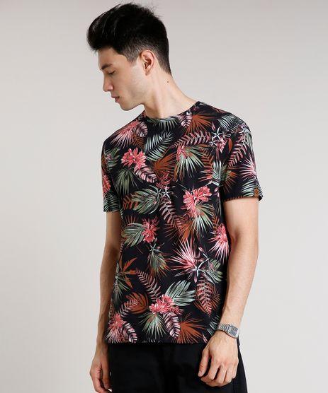 Camiseta-Masculina-Estampada-de-Folhagem-com-Bolso-Manga-Curta-Gola-Careca-Preta-9622260-Preto_1