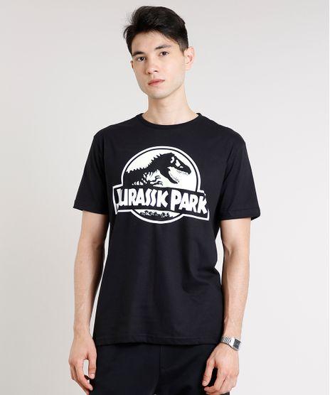 Camiseta-Masculina-Jurassic-Park-Brilha-no-Escuro-Manga-Curta-Gola-Careca-Preta-9607124-Preto_1