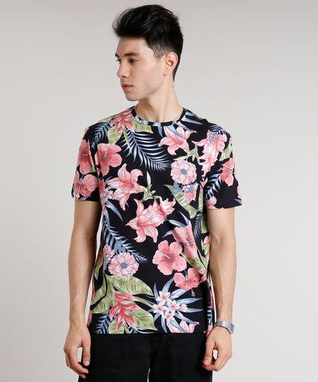 Camiseta-Masculina-Estampada-Floral-Manga-Curta-Gola-Careca-Preta-9619154-Preto_1