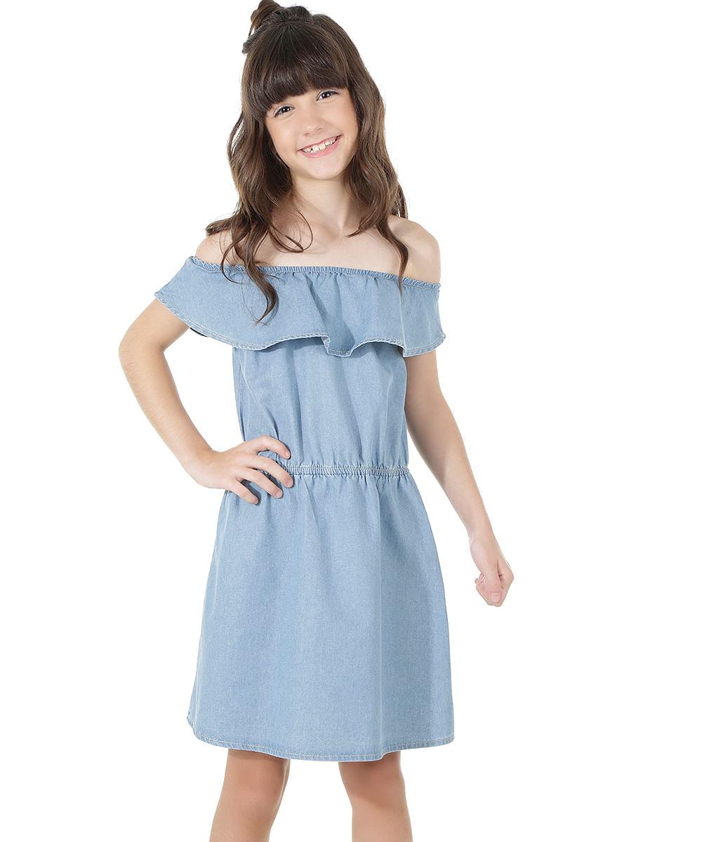 3ec8a83996 ... Vestido-Ombro-a-Ombro-Jeans-Azul-Claro-8558789-