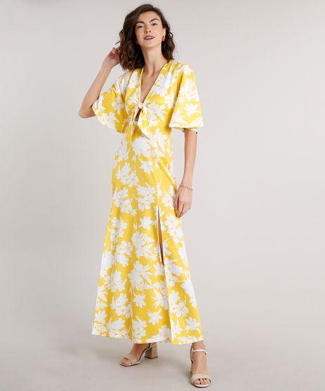 Vestido-Feminino-Longo-Estampado-Floral-com-No-e-Fendas-Manga-Curta-Amarelo-9627380-Amarelo_1