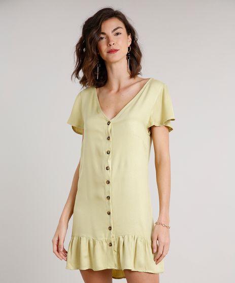 Vestido-Feminino-Curto-com-Babado-e-Botoes-Manga-Curta-Verde-Claro-9646859-Verde_Claro_1