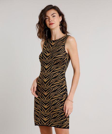 Vestido-Feminino-Curto-em-Trico-Estampado-Animal-Print-Sem-Manga-Caramelo-9620899-Caramelo_1