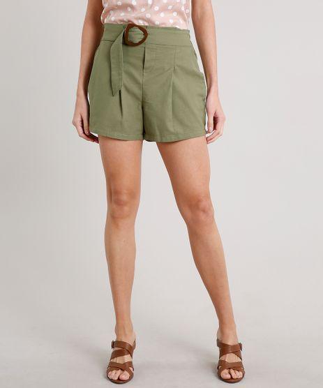 Short-Feminino-Clochard-com-Fivela-e-Bolsos-Verde-9686294-Verde_1