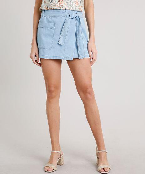 Short-Saia-Jeans-Feminino-com-Transpasse-e-Bolso-Azul-Claro-9662972-Azul_Claro_1