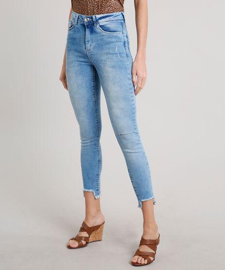 Calca-Jeans-Feminina-Cigarrete-com-Rasgos-Azul-Claro-9662964-Azul_Claro_1