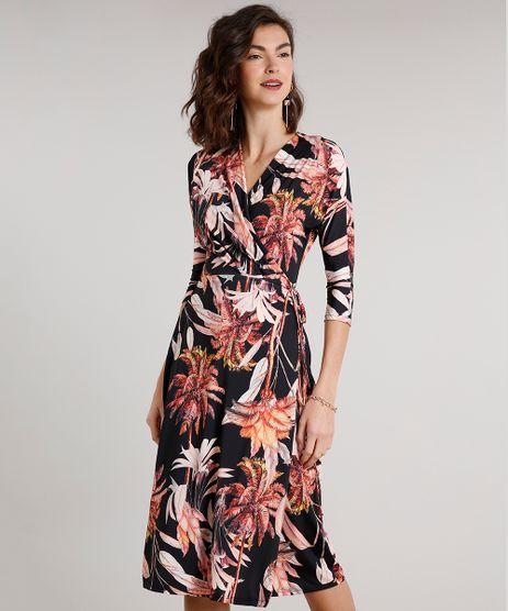 Vestido-Feminino-Midi-Envelope-Estampado-de-Coqueiros-Manga-3-4-Preto-9612388-Preto_1