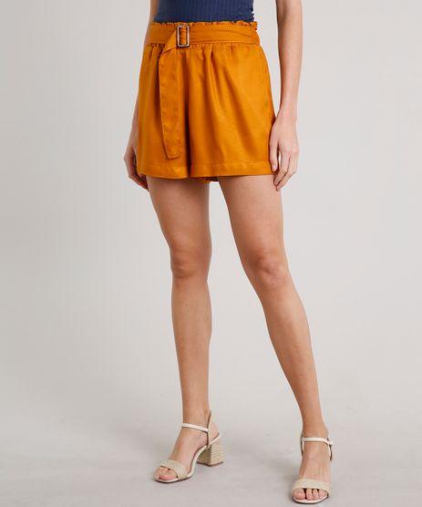 Short-Jeans-Feminino-Clochard-com-Fivela-e-Bolsos-Mostarda-9684513-Mostarda_1