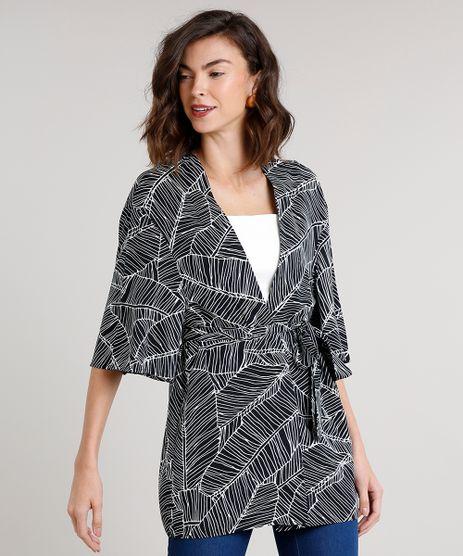 Kimono-Feminino-Estampado-de-Folhagens-com-Faixa-para-Amarracao--Preto-9548733-Preto_1