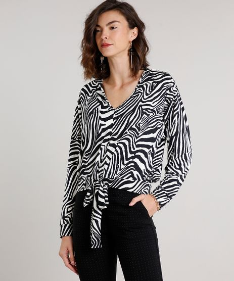 Blusa-Feminina-Estampada-Animal-Print-com-Amarracao-Manga-Curta-Decote-V-Off-White-9577378-Off_White_1