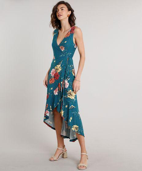 Vestido-Feminino-Midi-Mullet-Envelope-Estampado-Floral-Sem-Manga-Verde-9613388-Verde_1