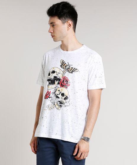 Camiseta-Masculina-Estampada-com-Caveira-e-Rosas-Manga-Curta-Gola-Careca-Branca-9674681-Branco_1