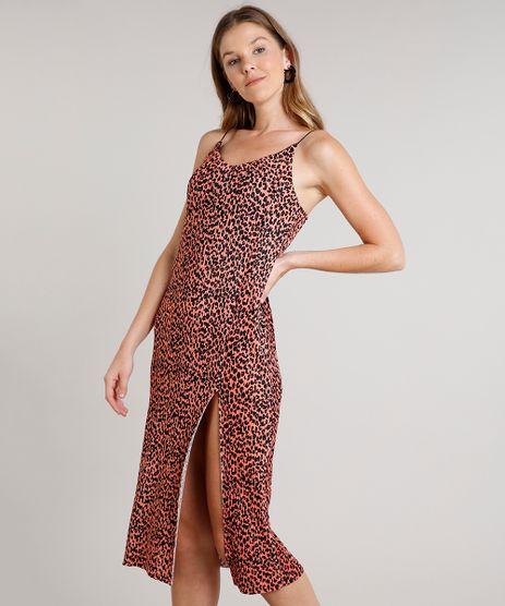 Vestido-Feminino-Midi-Plissado-Estampado-Animal-Print-com-Fenda-Alca-Fina-Coral-9631852-Coral_1