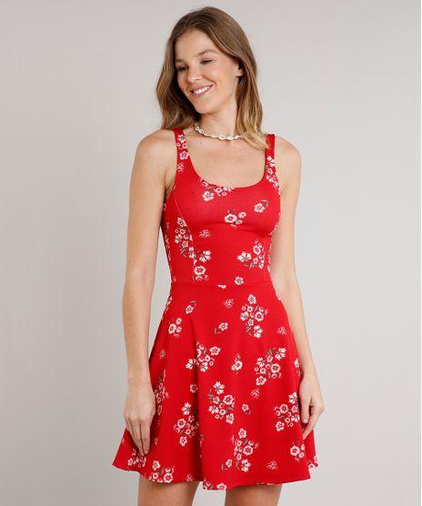 Vestido-Feminino-Curto-Evase-Estampado-Floral-Sem-Manga-Vermelho-9626791-Vermelho_1