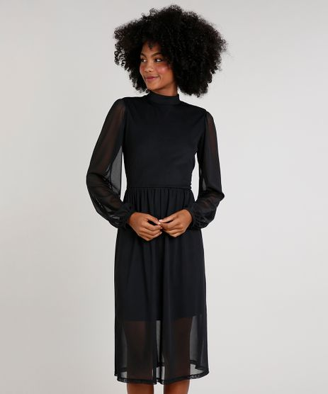 Vestido-Feminino-Midi-em-Tule-Manga-Bufante-Preto-9734187-Preto_1