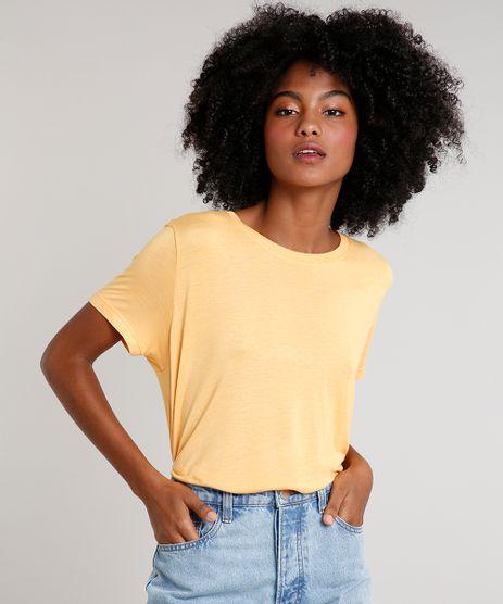 T-Shirt-Feminina-Mindset-Ampla-Manga-Curta-Decote-Redondo-Laranja-Claro-9752546-Laranja_Claro_1