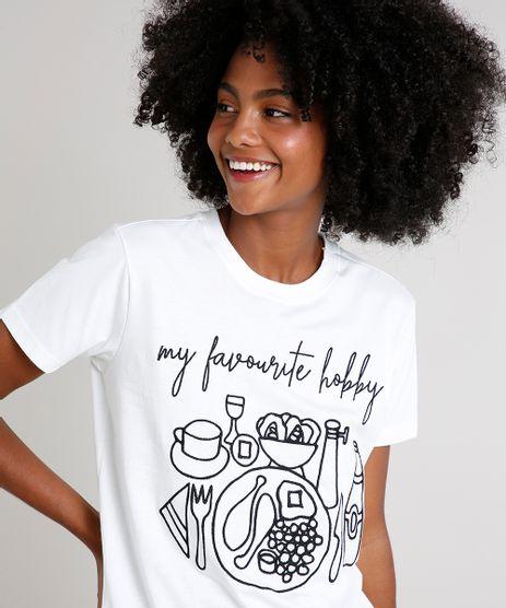 T-Shirt-Feminina-Mindset-com-Bordado--Hobby--Manga-Curta-Decote-Redondo-Off-White-9724590-Off_White_1