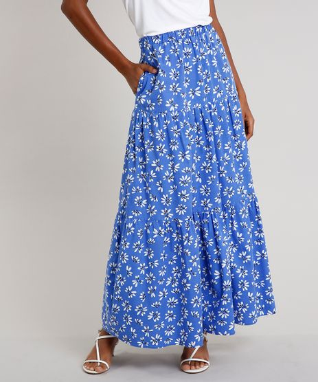 Saia-Feminina-Mindset-Longa-Estampada-Floral-com-Bolsos-Azul-9707543-Azul_1