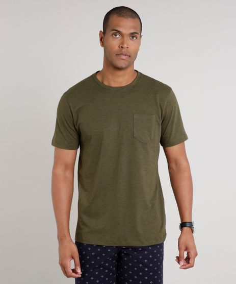 Camiseta-Masculina-Basica-com-Bolso-Manga-Curta-Gola-Careca-Verde-Militar-9421866-Verde_Militar_1