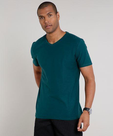 Camiseta-Masculina-Basica-Flame-Manga-Curta-Gola-V-Verde-9595137-Verde_1