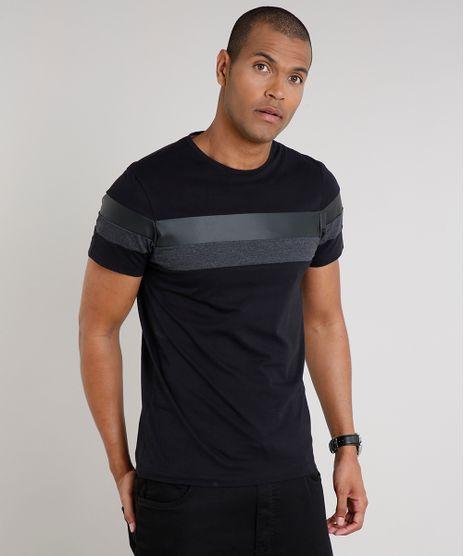 Camiseta-Masculina-Slim-Fit-com-Recortes-Manga-Curta-Gola-Careca-Preta-9635142-Preto_1