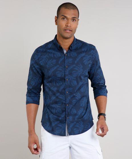 Camisa-Masculina-Slim-Estampada-de-Folhagem-Manga-Longa-Azul-Marinho-9523402-Azul_Marinho_1