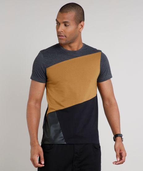 Camiseta-Masculina-Slim-Fit-com-Recortes-Manga-Curta-Gola-Careca-Cinza-Mescla-Escuro-9635141-Cinza_Mescla_Escuro_1
