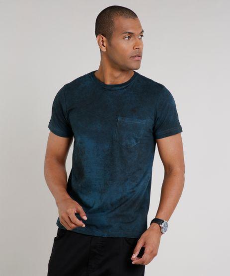 Camiseta-Masculina-Slim-Fit-Estampada-com-Bolso-Manga-Curta-Gola-Careca-Verde-9593439-Verde_1