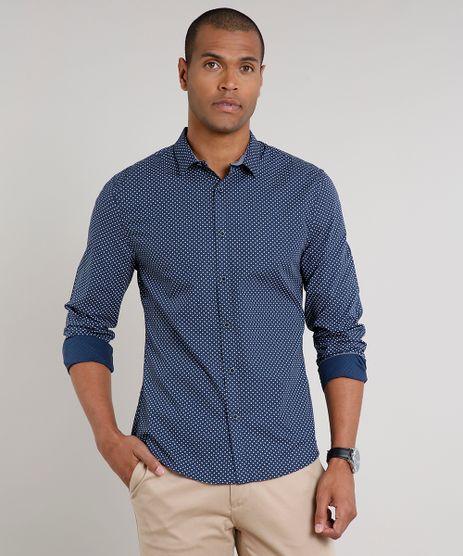 Camisa-Masculina-Slim-Estampada-Mini-Print-Manga-Longa-Azul-Marinho-9523414-Azul_Marinho_1